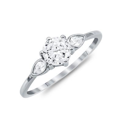 Δαχτυλίδι Μονόπετρο Mε Πέτρες Από Ασήμι DX823