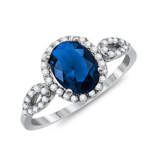 Δαχτυλίδι Μονόπετρο Mε Μπλε Πέτρα Από Ασήμι DX832