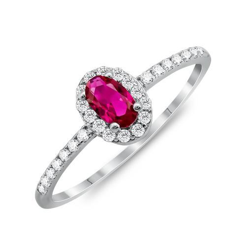 Δαχτυλίδι Μονόπετρο Mε Κόκκινη Πέτρα Από Ασήμι DX833