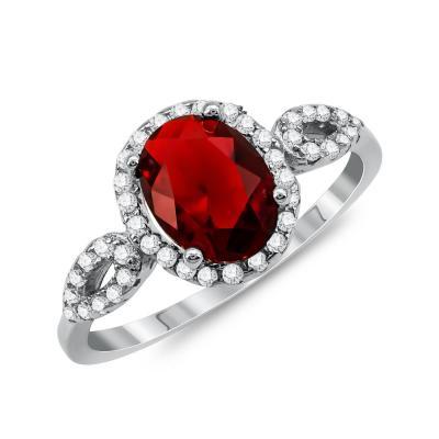 Δαχτυλίδι Μονόπετρο Mε Κόκκινη Πέτρα Από Ασήμι DX831