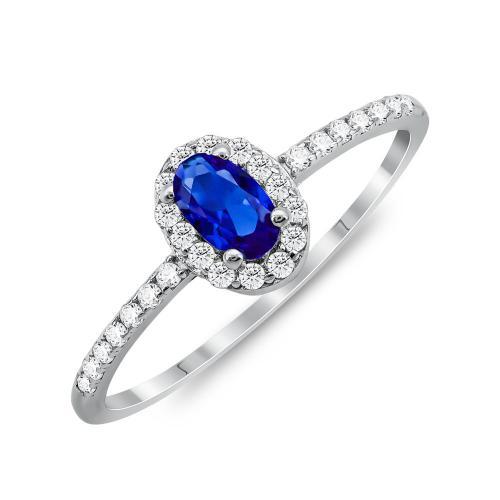 Δαχτυλίδι Μονόπετρο Mε Μπλε Πέτρα Από Ασήμι DX835