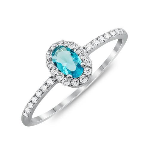 Δαχτυλίδι Μονόπετρο Mε Μπλε Πέτρα Από Ασήμι DX836