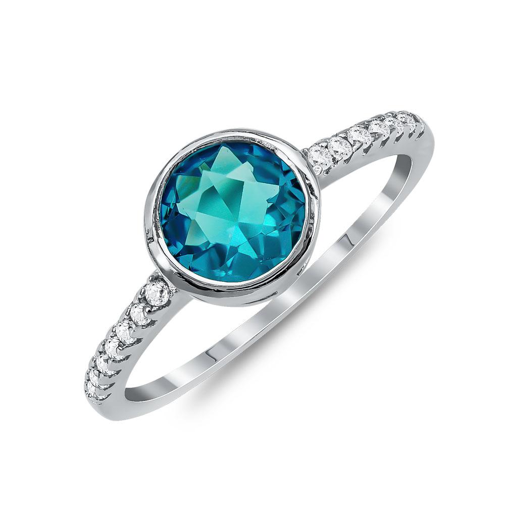Δαχτυλίδι Μονόπετρο Mε Μπλε Πέτρα Από Ασήμι DX825