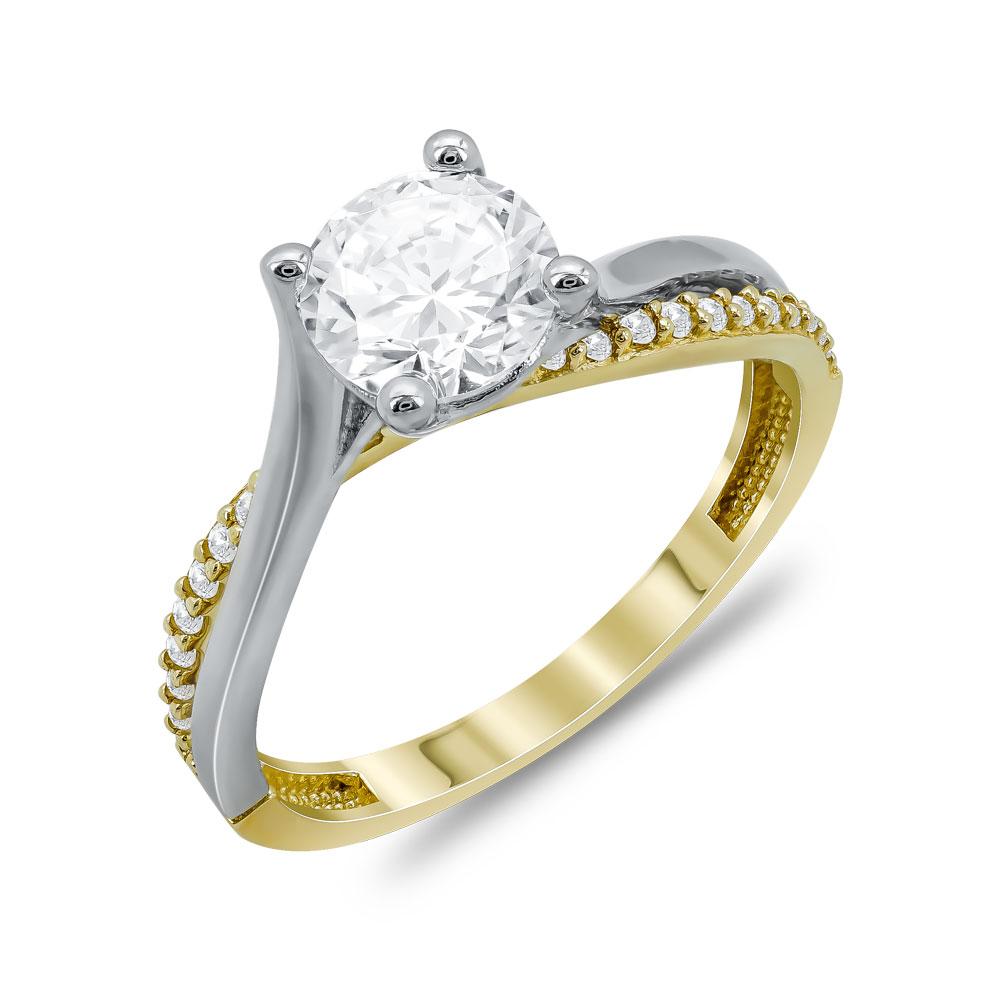 Δαχτυλίδι Μονόπετρο Από Δίχρωμο Χρυσό Κ14 DX04798