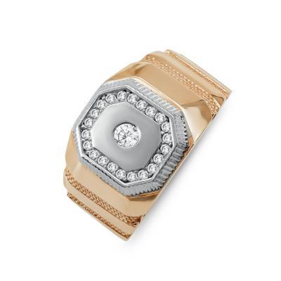 Ανδρικό Δαχτυλίδι από Δίχρωμο Χρυσό Κ14 ADX156