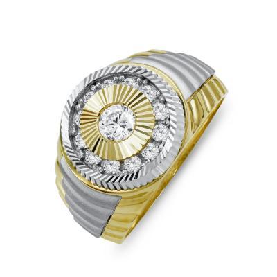 Ανδρικό Δαχτυλίδι από Δίχρωμο Χρυσό Κ14 ADX158