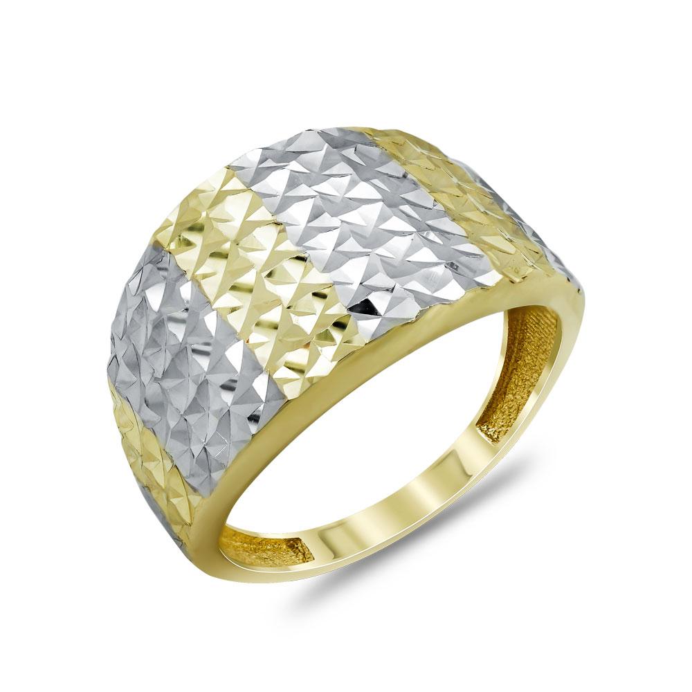 Δαχτυλίδι Φαρδύ Από Δίχρωμο Χρυσό Κ14 DX04645