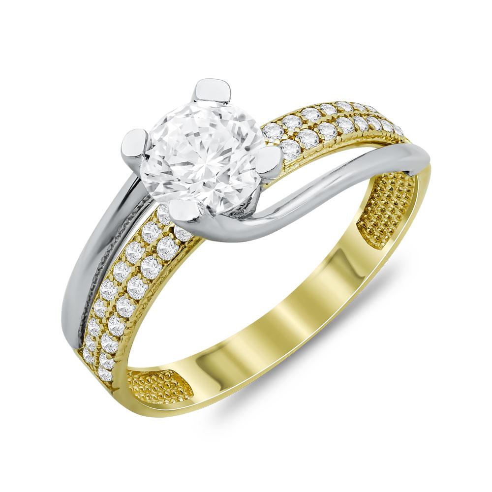 Δαχτυλίδι Μονόπετρο Από Δίχρωμο Χρυσό Κ14 DX74352