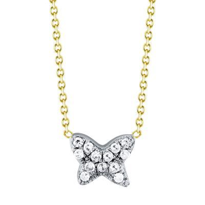 Κολιέ Με Πεταλούδα Από Δίχρωμο Χρυσό Με Διαμάντια Βrilliant Κ18 KL901