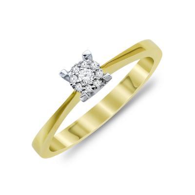 Mονόπετρο Δαχτυλίδι Με Διαμάντια Brilliant Aπό Δίχρωμο Χρυσό Κ18 R22105