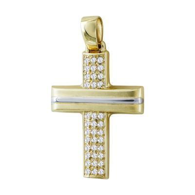 Σταυρός Βάπτισης Γυναικείος Σε Δίχρωμο Χρυσό 9 Καρατίων Με Πέτρες ST2573