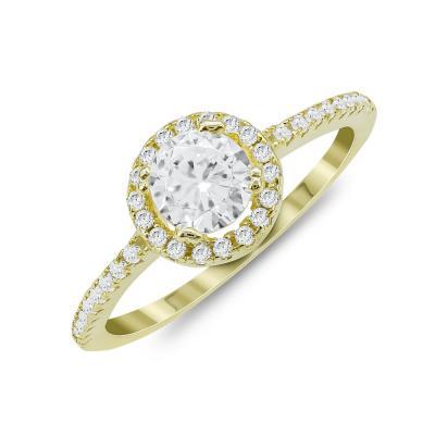 Δαχτυλίδι Μονόπετρο Mε Πέτρες Από Επιχρυσωμένο Ασήμι DX826
