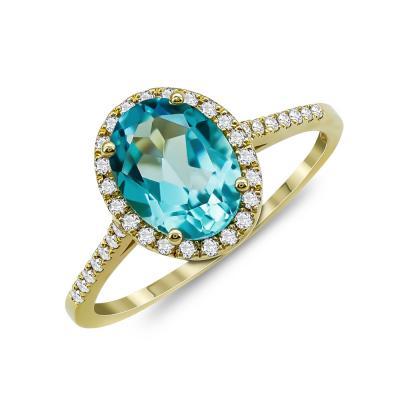 Mονόπετρο Δαχτυλίδι Με Blue Topaz και Διαμάντια Brilliant Aπό Κίτρινο Χρυσό Κ18 R24353