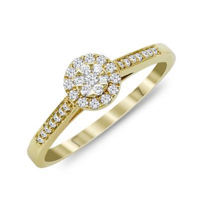 Mονόπετρο Δαχτυλίδι Με Διαμάντια Brilliant Aπό Κίτρινο Χρυσό Κ18 R24780