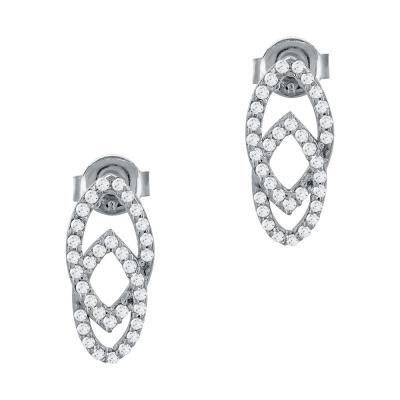 Σκουλαρίκια Με Πέτρες Από Λευκό Χρυσό Κ14 SK79194
