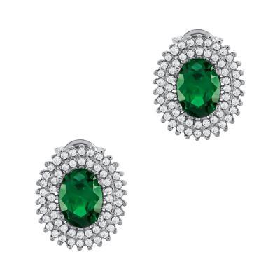 Σκουλαρίκια Με Πράσινες Πέτρες Από Λευκό Χρυσό Κ14 SK90183