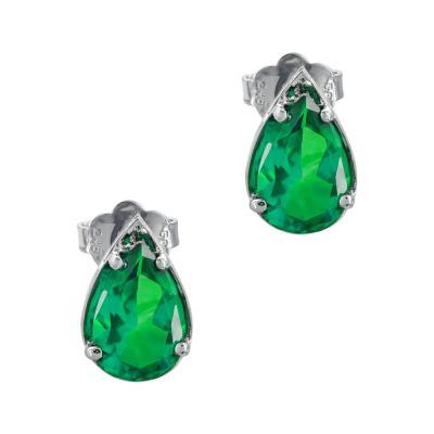 Σκουλαρίκια Δάκρυ Με Πράσινο Τοπάζ Aπό Λευκό Χρυσό Κ14 SK1074