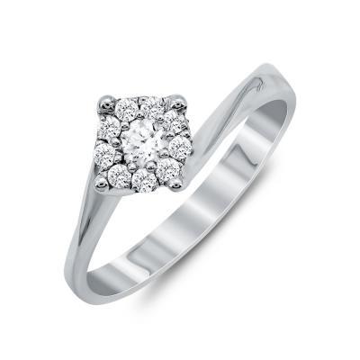 Mονόπετρο Δαχτυλίδι Με Διαμάντια Brilliant Aπό Λευκό Χρυσό Κ18 R13523