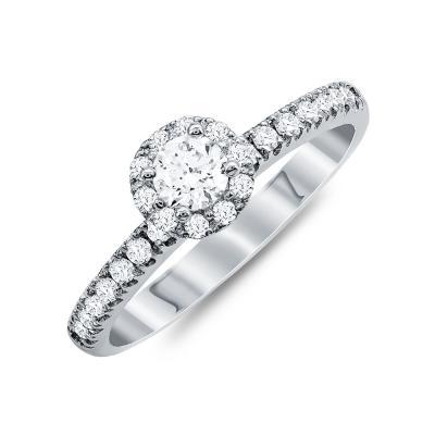 Mονόπετρο Δαχτυλίδι Με Διαμάντια Brilliant Aπό Λευκό Χρυσό Κ18 R20748