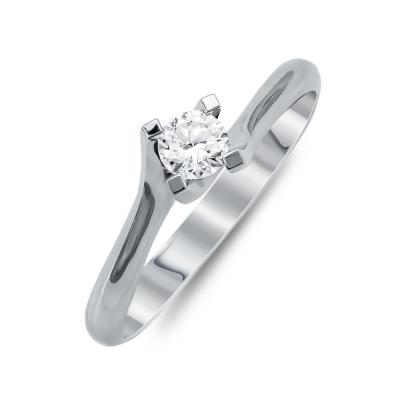 Mονόπετρο Δαχτυλίδι Με Διαμάντια Brilliant Aπό Λευκό Χρυσό Κ18 R24692
