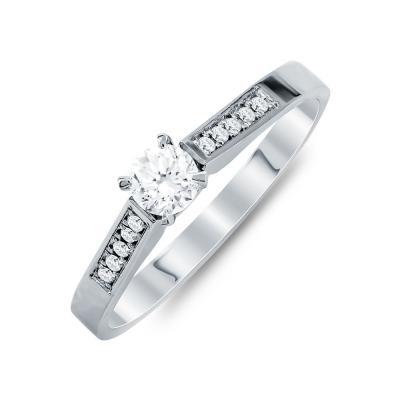 Mονόπετρο Δαχτυλίδι Με Διαμάντια Brilliant Aπό Λευκό Χρυσό Κ18 R24964