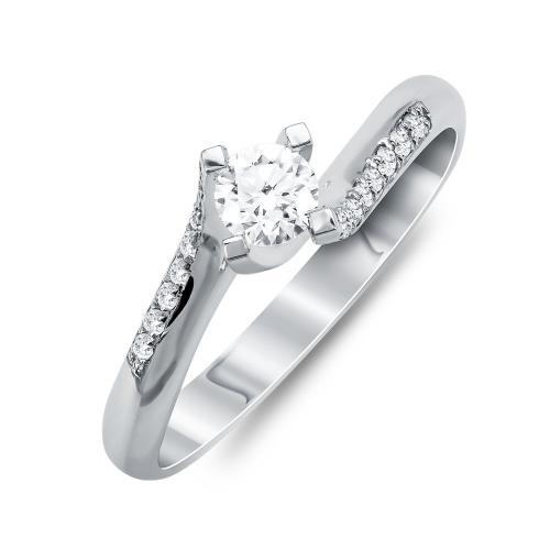 Mονόπετρο Δαχτυλίδι Με Διαμάντια Brilliant Aπό Λευκό Χρυσό Κ18 R25552