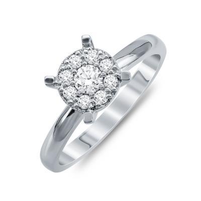 Mονόπετρο Δαχτυλίδι Με Διαμάντια Brilliant Aπό Λευκό Χρυσό Κ18 R25727