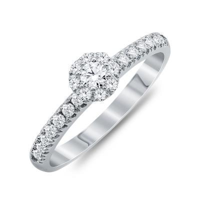 Mονόπετρο Δαχτυλίδι Με Διαμάντια Brilliant Aπό Λευκό Χρυσό Κ18 R25718