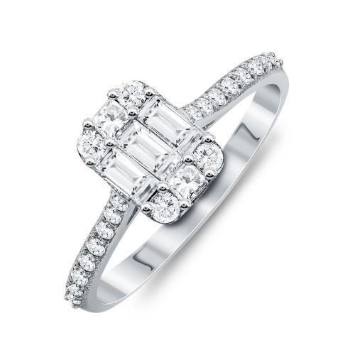 Mονόπετρο Δαχτυλίδι Με Διαμάντια Brilliant Aπό Λευκό Χρυσό Κ18 R25355