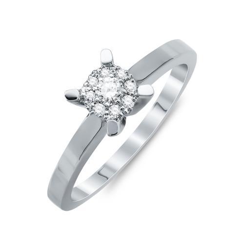Mονόπετρο Δαχτυλίδι Με Διαμάντια Brilliant Aπό Λευκό Χρυσό Κ18 R25721