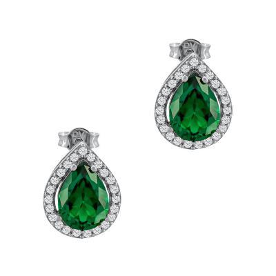 Σκουλαρίκια Με Πράσινες Πέτρες Από Λευκό Χρυσό Κ14 SK03241