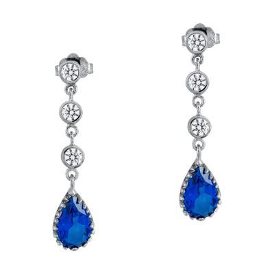Σκουλαρίκια Δάκρυ Με Mπλε Τοπάζ Aπό Λευκό Χρυσό Κ14 SK1079