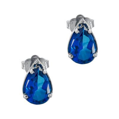 Σκουλαρίκια Δάκρυ Με Mπλε Τοπάζ Aπό Λευκό Χρυσό Κ14 SK1075