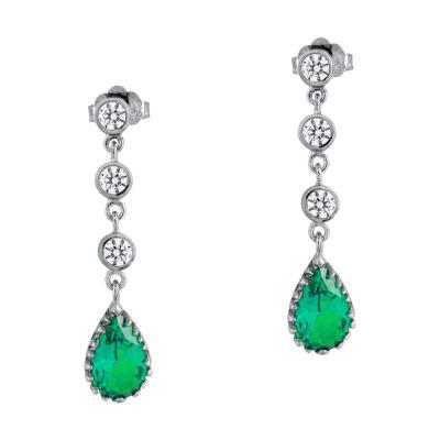 Σκουλαρίκια Δάκρυ Με Πράσινο Τοπάζ Aπό Λευκό Χρυσό Κ14 SK1077