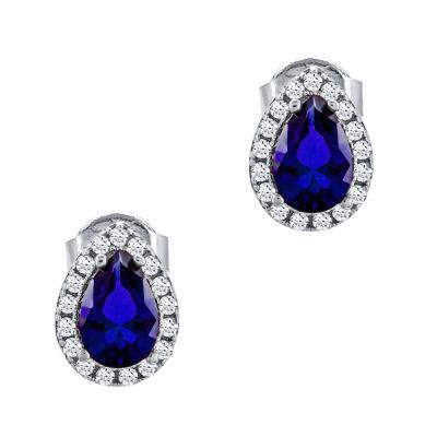 Σκουλαρίκια Με Μπλε Πέτρες Από Λευκό Χρυσό Κ14 SK77414