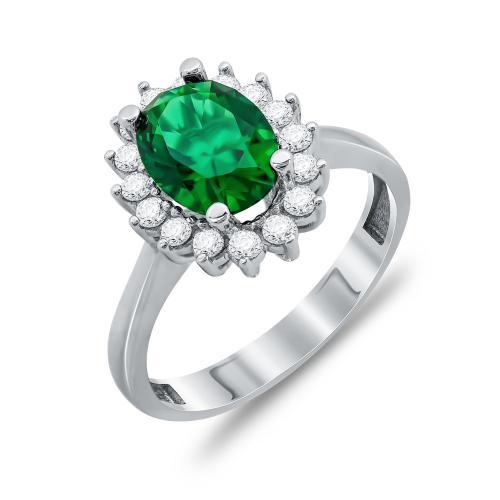 Δαχτυλίδι Μονόπετρο Με Πράσινη Πέτρα Από Λευκόχρυσο Κ14 DX00717