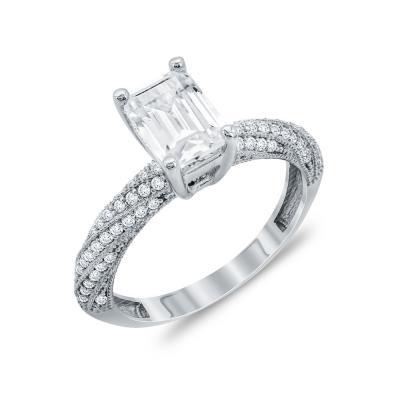 Δαχτυλίδι Μονόπετρο Από Λευκόχρυσο Κ14 DX94807
