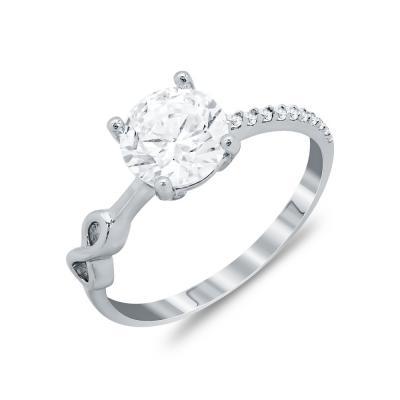 Δαχτυλίδι Μονόπετρο Από Λευκόχρυσο Κ14 DX90716