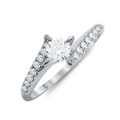 Mονόπετρο Δαχτυλίδι Με Διαμάντια Brilliant Aπό Λευκό Χρυσό Κ18 R24228