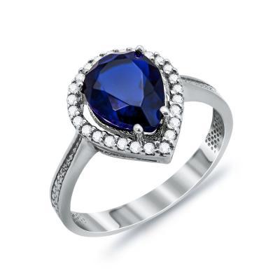 Δαχτυλίδι Μονόπετρο Δάκρυ Mε Μπλε Πέτρα Από Λευκόχρυσο Κ14 DX03233