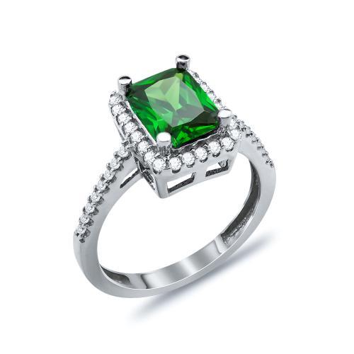 Δαχτυλίδι Μονόπετρο Με Πράσινη Πέτρα Από Λευκόχρυσο Κ14 DX03374