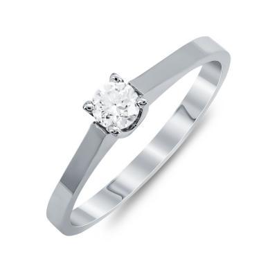 Mονόπετρο Δαχτυλίδι Με Διαμάντια Brilliant Aπό Λευκόχρυσο Κ18 R24819