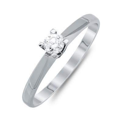 Mονόπετρο Δαχτυλίδι Με Διαμάντια Brilliant Aπό Λευκό Χρυσό Κ18 R24892