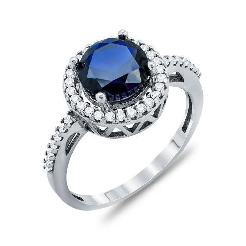 Δαχτυλίδι Μονόπετρο Με Μπλε Πέτρα Από Λευκόχρυσο Κ14 DX64621