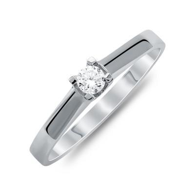 Mονόπετρο Δαχτυλίδι Με Διαμάντια Brilliant Aπό Λευκό Χρυσό Κ18 R25141
