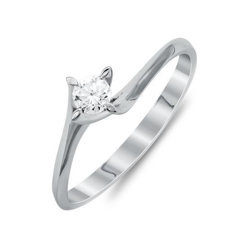 Mονόπετρο Δαχτυλίδι Με Διαμάντια Brilliant Aπό Λευκό Χρυσό Κ18 R25340