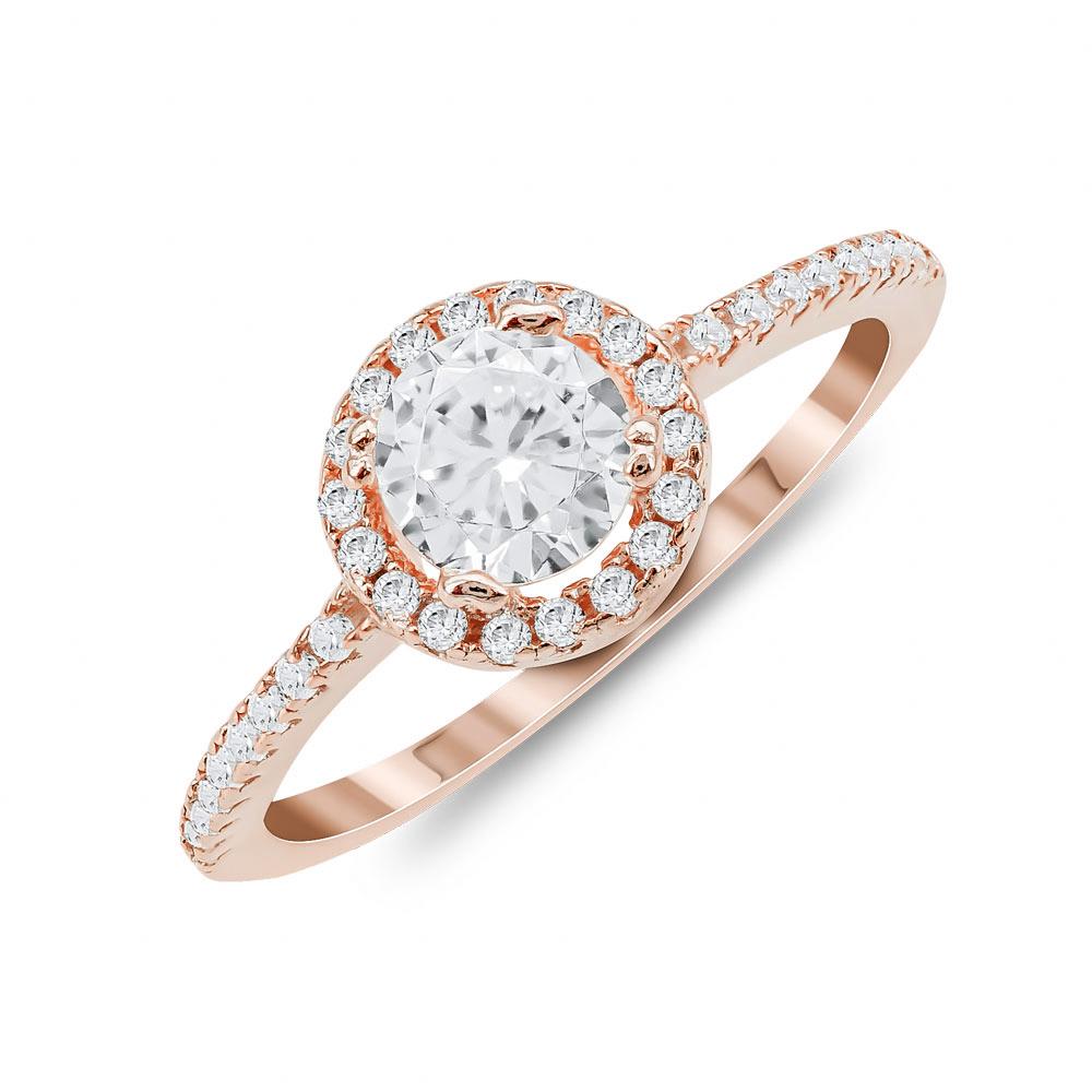 Δαχτυλίδι Μονόπετρο Mε Πέτρες Από Ροζ Επιχρυσωμένο Ασήμι DX827