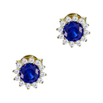 Σκουλαρίκια Με Μπλε Πέτρες Από Κίτρινο Χρυσό Κ14 SK03495