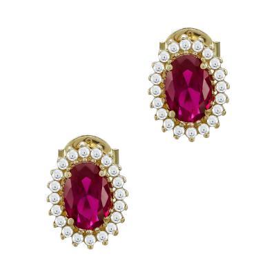 Σκουλαρίκια Με Κόκκινες Πέτρες Από Κίτρινο Χρυσό Κ14 SK74792