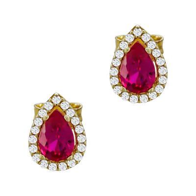 Σκουλαρίκια Με Κόκκινες Πέτρες Από Κίτρινο Χρυσό Κ14 SK77909